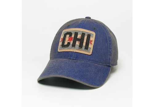 League League Legacy Trucker Hat with Chicago Flag Patch, Blue