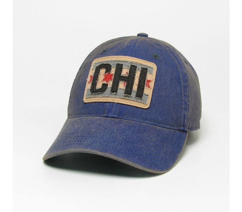 League Trucker Hat with Chicago Flag Patch, Blue