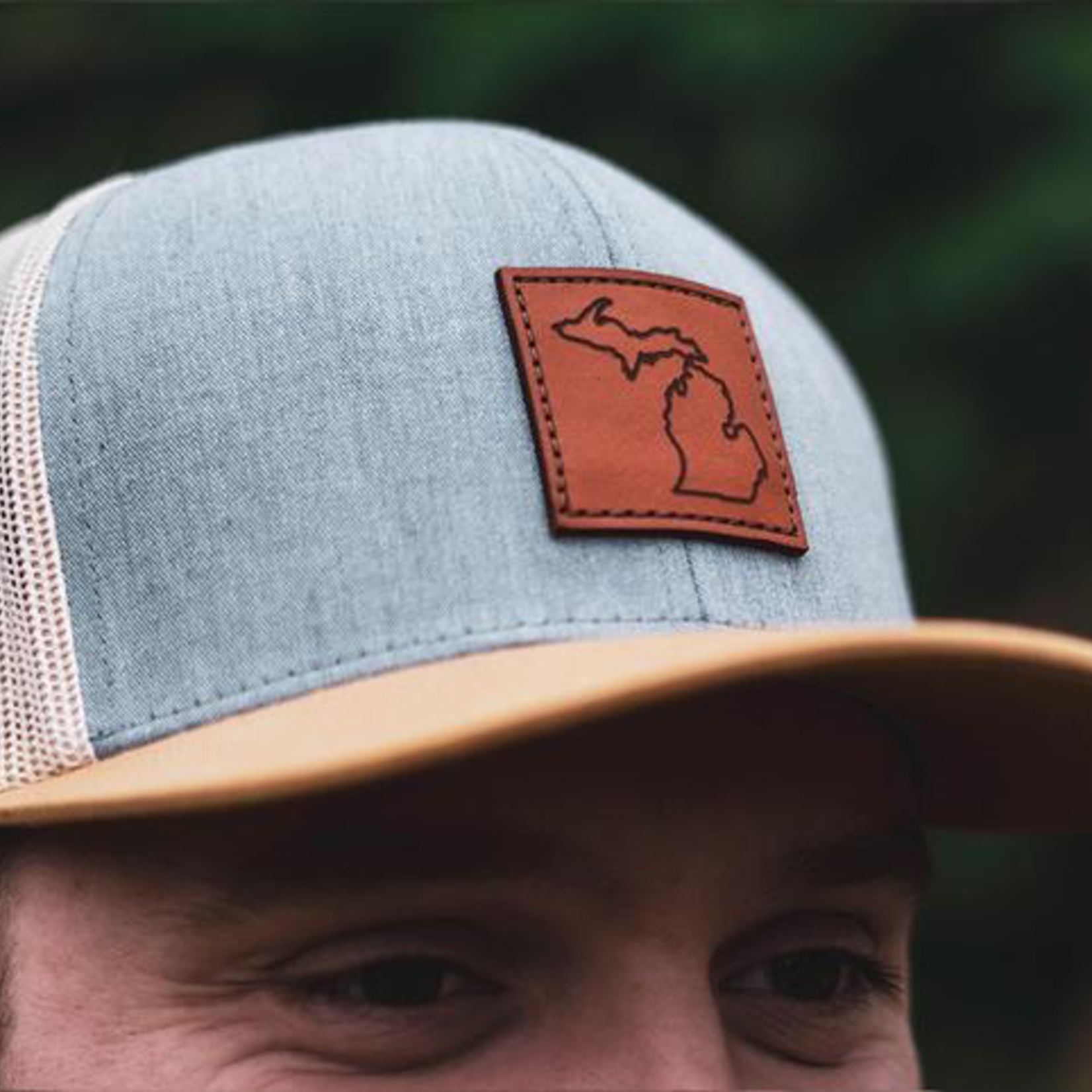 my great lake Michigan Awesome - Leather Patch Trucker