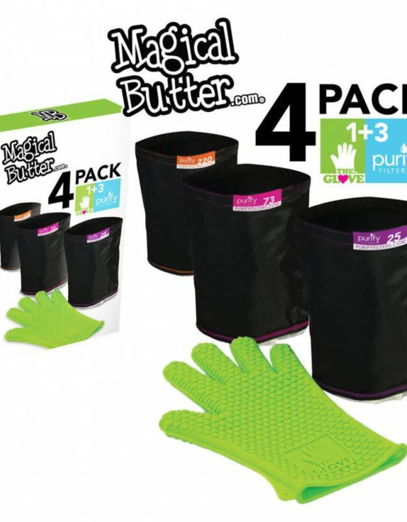 Magical Butter Magical Butter 4-Pack Filter Combo w/ 3 Purify Bags - 25, 73 & 220 Micron As Well As 1 Silicone Glove