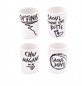 Main and Local Quebec Slang Shot Glasses