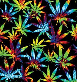 """Tie Dye Weed Leaves Fleece Blanket - 79"""" x 94"""""""