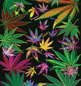 "Weed Leaf Collage Fleece Blanket - 76"" x 92"""