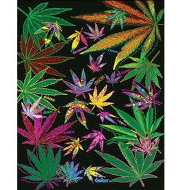 "Weed Leaf Collage Fleece Blanket - 76"" x 92"""