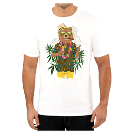 Stonerdays Men's Bear On Vacation Tee - White - Large