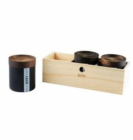 Ryot RYOT Jar Box w/ 3 Black Jars and Walnut Tray Lid