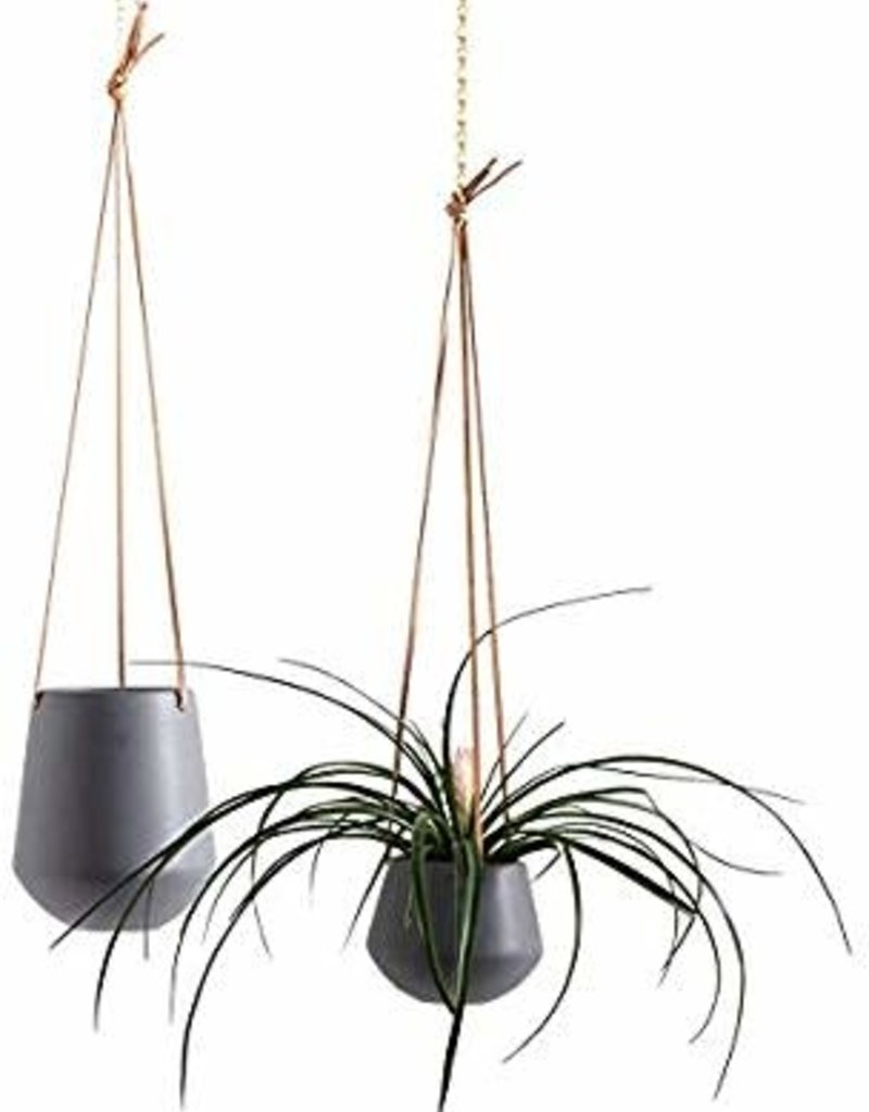 "Ashbury Leather Hanging 5"" Grey Ceramic Drop Pot"