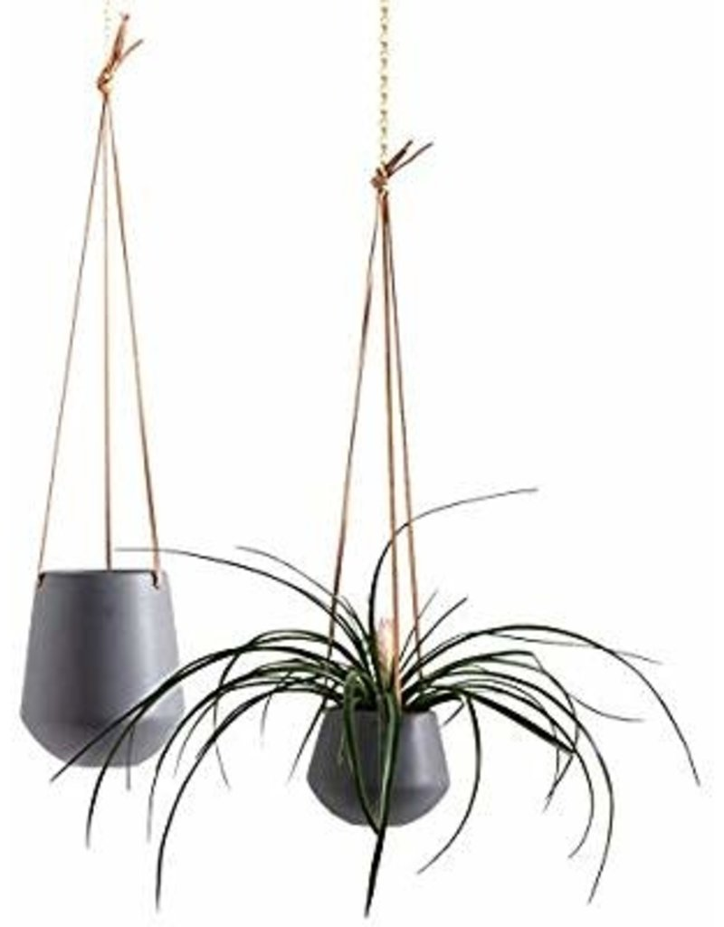"""Ashbury Leather Hanging 5"""" Grey Ceramic Drop Pot"""