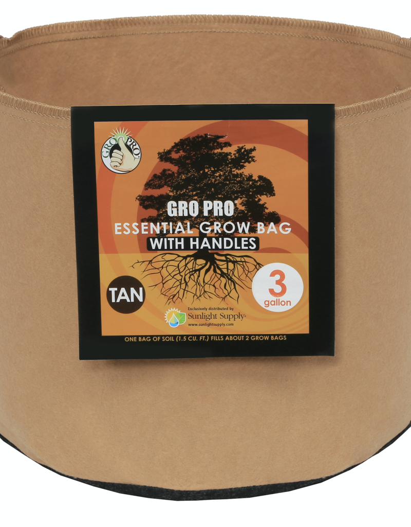 Gro Pro Gro Pro Essential Round Fabric Pot w/ Handles 3 Gallon - Tan