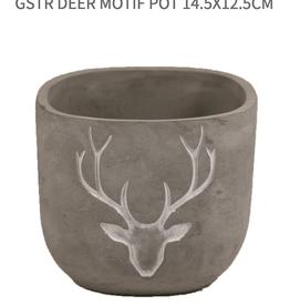 GSTR Deer Motif Pot 14.5x12.5cm