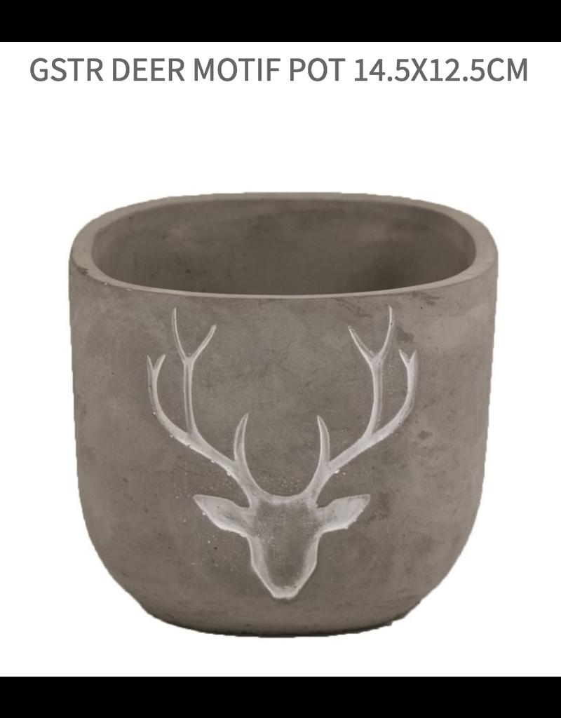 GSTR Deer Motif Pot 12.5x10.5cm