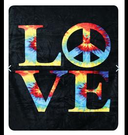 """Love Tie Dye Fleece Blanket - 79"""" x 94"""""""