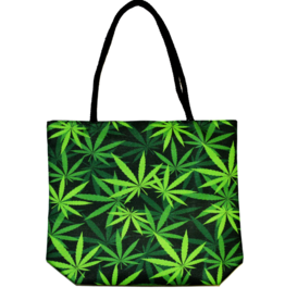 "Jute Rope Handled Tote Bag | Weed Leaves | 16""x15""x5"""