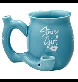 Stoner Girl Ceramic Mug Pipe - 11oz / Blue
