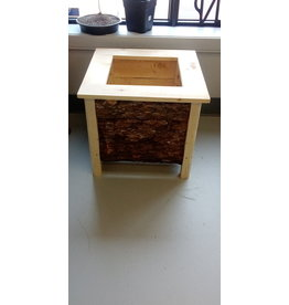 Hand Crafted Wood Planter / Raw bark exterior / Large