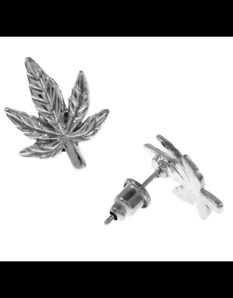 Earrings : Silver Cannabis Leaf
