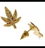 Earrings: Gold Cannabis Leaf