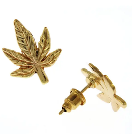 Earrings: Gold Cannabis Leaf