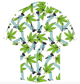 Hawaiian Shirt Wild Weed White - Large