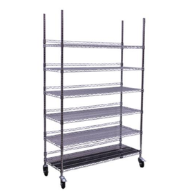 Hydro Flow Hydro Flow Commercial Grade Chrome Storage Rack- 6 Shelves w/ Backstop & Casters