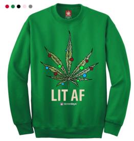 Stonerdays Lit AF Crewneck Sweatshirt - Medium / Green