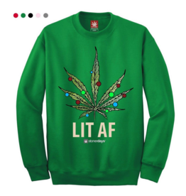 Stonerdays Lit AF Crewneck Sweatshirt - Medium / Green