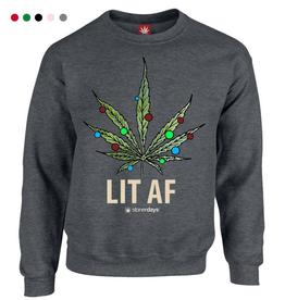 Stonerdays Lit AF Crewneck Sweatshirt - Medium / Grey