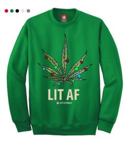 Stonerdays Lit AF Crewneck Sweatshirt - X-Large / Green