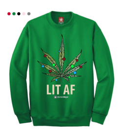 Stonerdays Lit AF Crewneck Sweatshirt - X-Large / Green