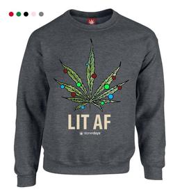 Stonerdays Lit AF Crewneck Sweatshirt - Large / Grey