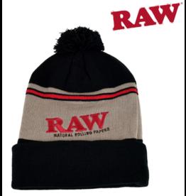 Raw Raw Pompom Hat Black / Brown