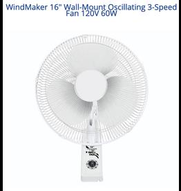 """Windmaker WindMaker 16"""" Wall-Mount Oscillating 3-Speed Fan 120V 60W"""