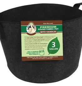 Go Pro Gro Pro Premium Round Fabric Pot w/ Handles 3 Gallon - Black