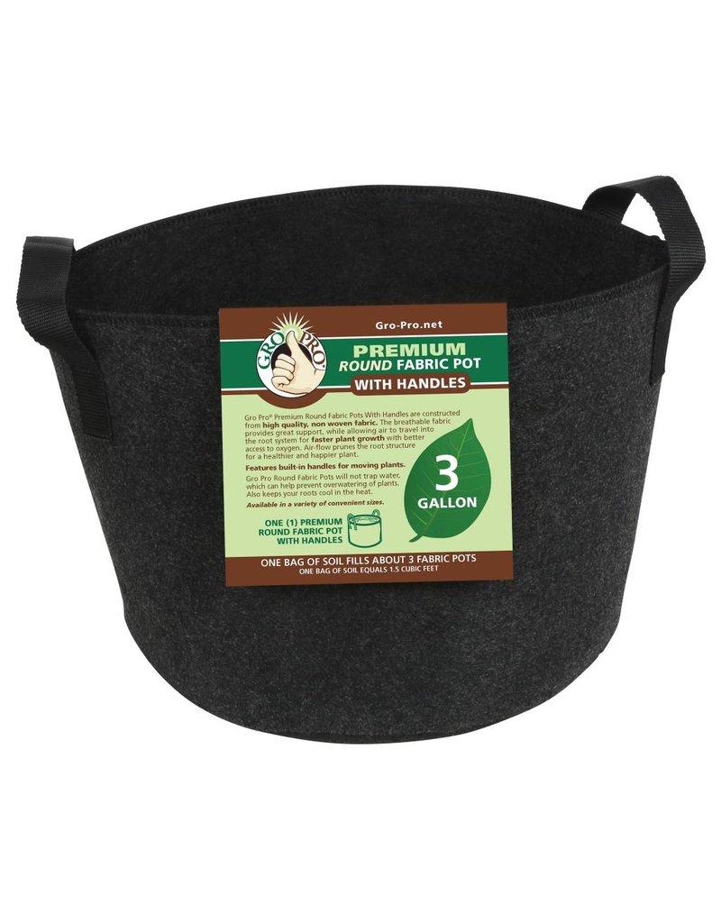 Gro Pro Premium Round Fabric Pot w/ Handles 3 Gallon - Black