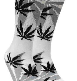 Leaf Republic Socks -White w/Black Leaves