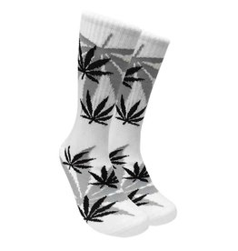 Leaf Republic Socks -White w/Black Leaves