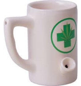 Ceramic Water Pipe Mug - 8oz - White Hemp LEaf