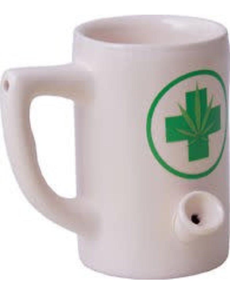 Ceramic Water Pipe Mug - 8oz - White Hemp LEaf
