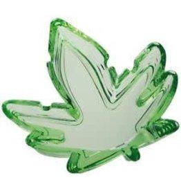 Hemp Leaf Funky Green Glass Ashtray