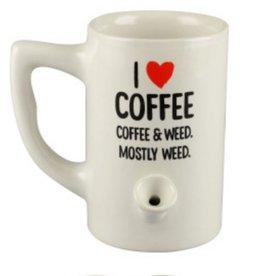 Ceramic Water Pipe Mug - 8oz - I heart Coffee