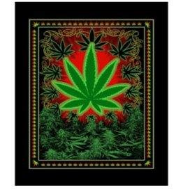 "Chicko Chicko Leaf Plush Fleece Blanket - Medium Weight / 79"" x 94"""