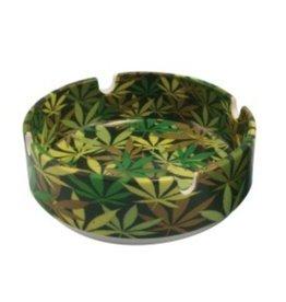 """3.35"""" Hemp Leaf Camouflage Ceramic Ashtray"""