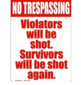 "Kalan 8"" x 11.5"" No Trespassing Tin Sign"