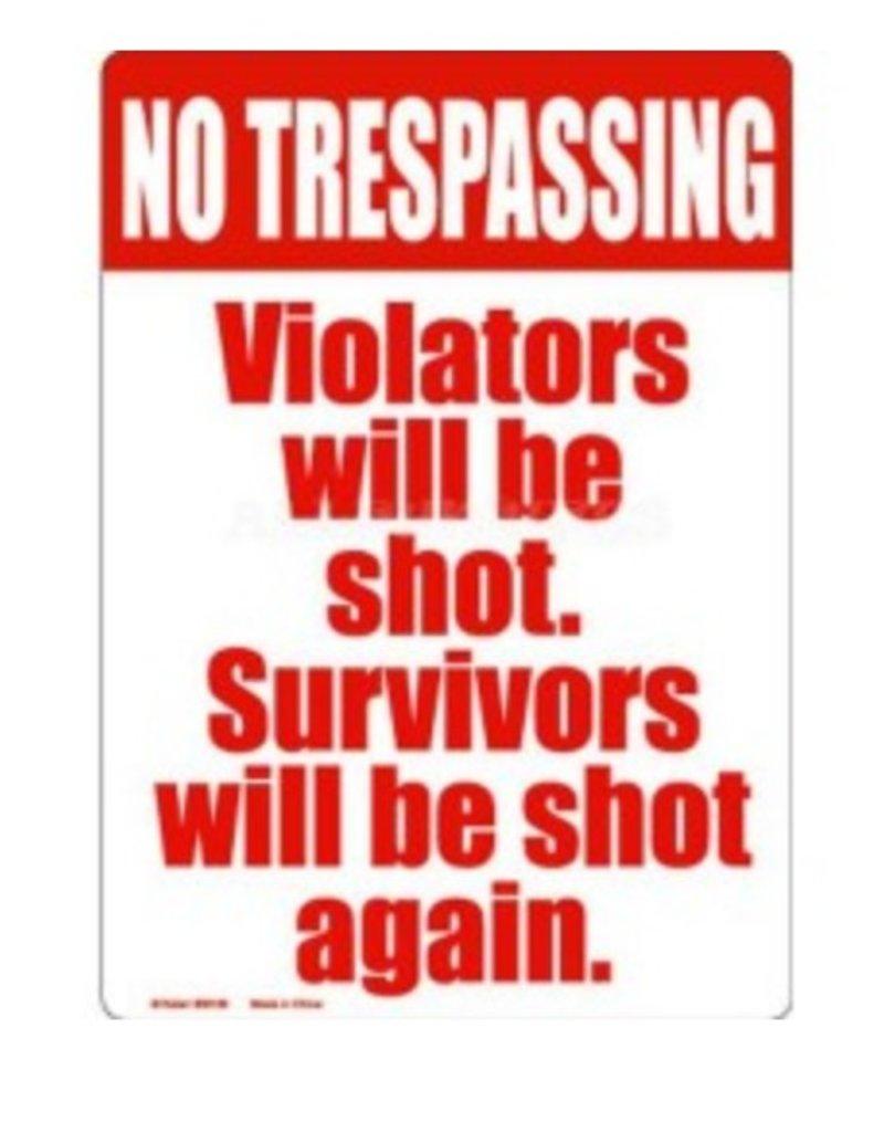 """Kalan 8"""" x 11.5"""" No Trespassing Tin Sign"""