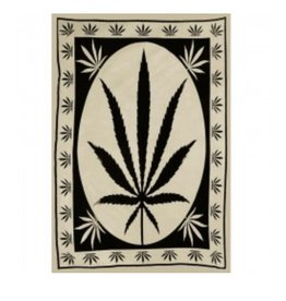 "58"" x 82"" Black & Tan Big Hemp Leaf Tapestry"