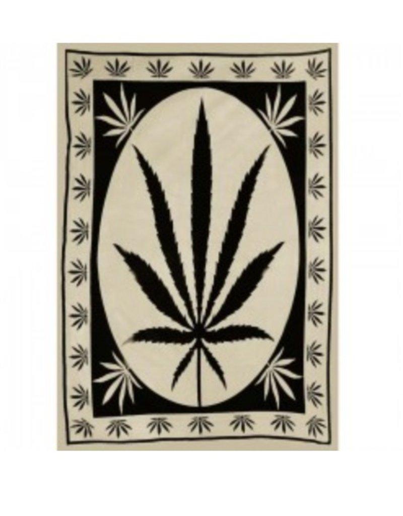 """58"""" x 82"""" Black & Tan Big Hemp Leaf Tapestry"""