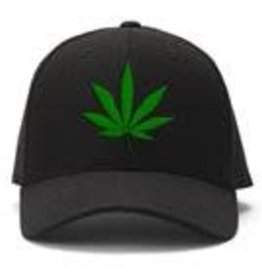 Black Ball Herbal Leaf Embroidered Ball Cap