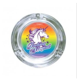 "Stonerware Stonerware 4.25"" Round Glass Ashtray - Fucking Magical Unicorn"