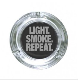 "Stonerware Stonerware 4.25"" Round Glass Ashtray - Light, Smoke, Repeat"
