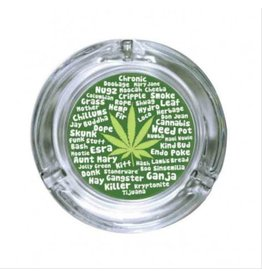 Stonerware Stonerware Round Glass Ashtray - Many Names of Marijuana